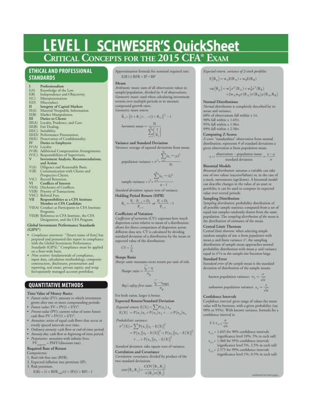 PDF) 2015 CFA Level 1 Quick Sheet   Jianan Chen - Academia edu