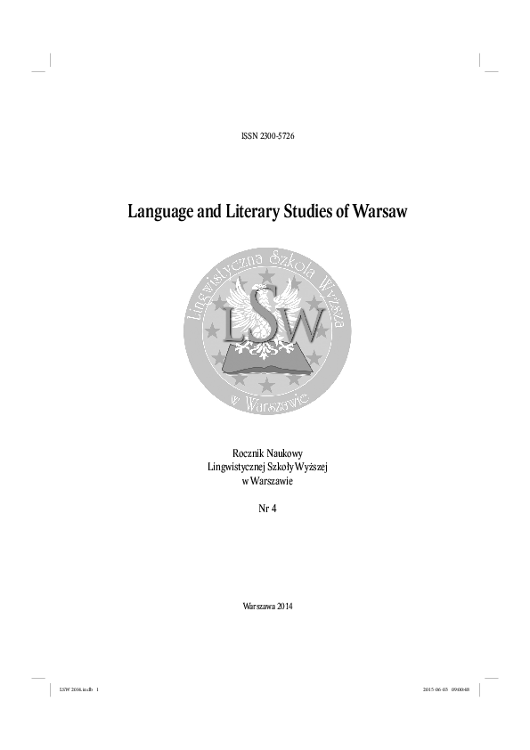 Pdf Language And Literary Studies Of Warsaw Vol 4