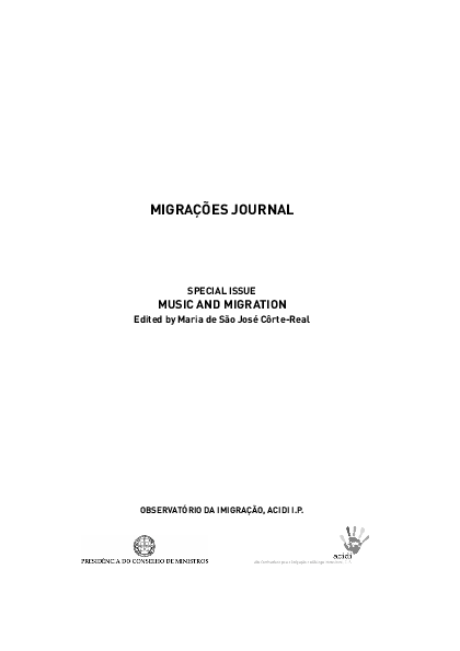 Music and Migration, Special Issue Migrações 7 [Guest Editor