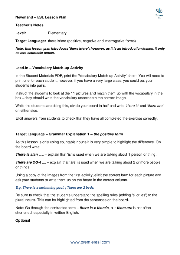 PDF) ESL Lesson Plan - Neverland (Teacher's Notes) | Premier