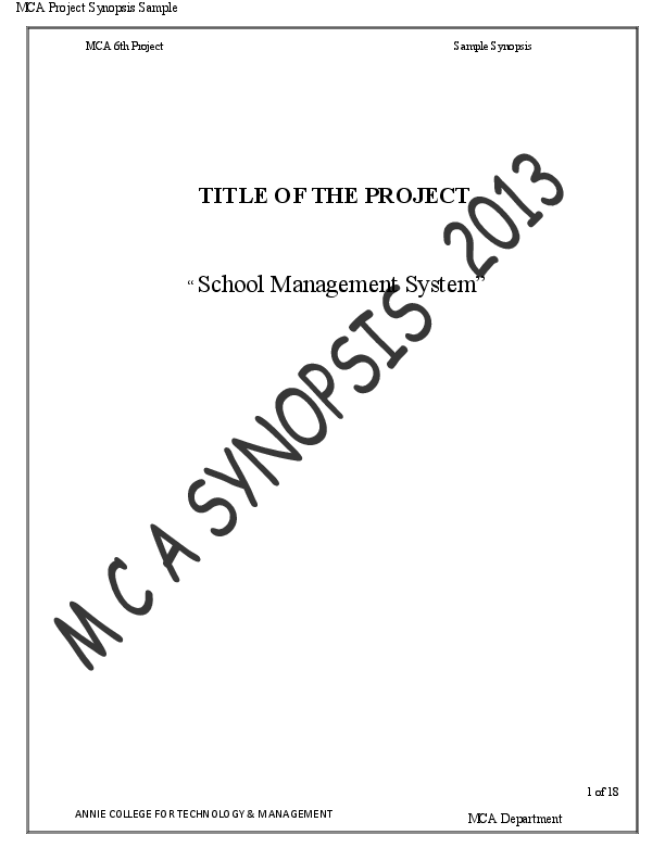(PDF) MCA Project Synopsis Sample TITLE OF THE PROJECT