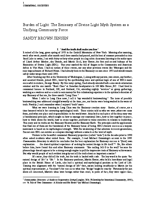 Pdf Burden Of Light The Emissary Of Divine Light Myth System As A