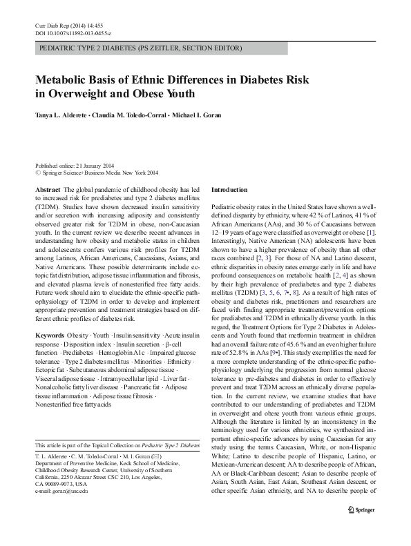 PDF) Metabolic Basis of Ethnic Differences in Diabetes Risk in