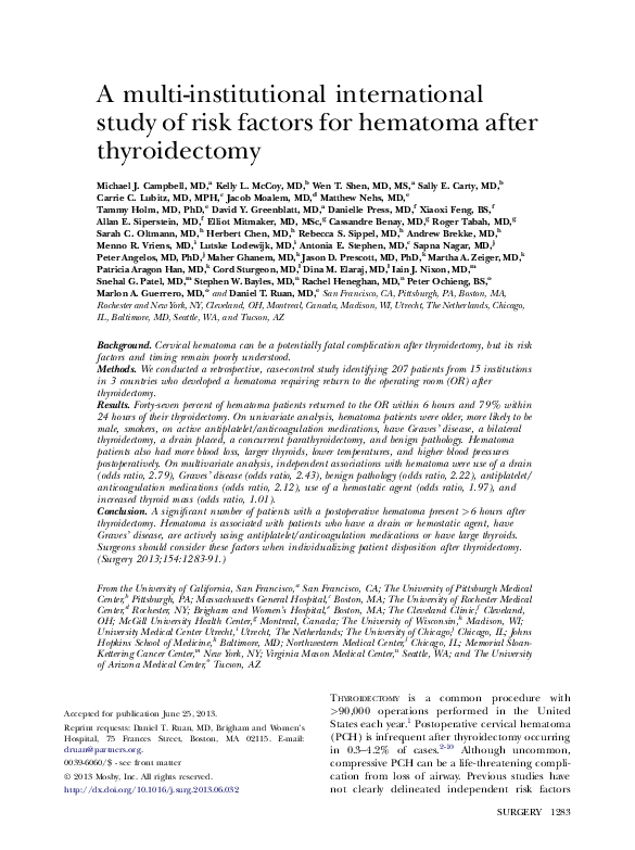 A multi-institutional international study of risk factors