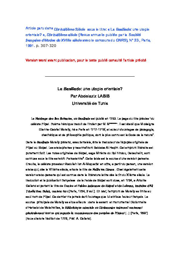 Doc La Basiliade Une Utopie Orientale Abdelaziz