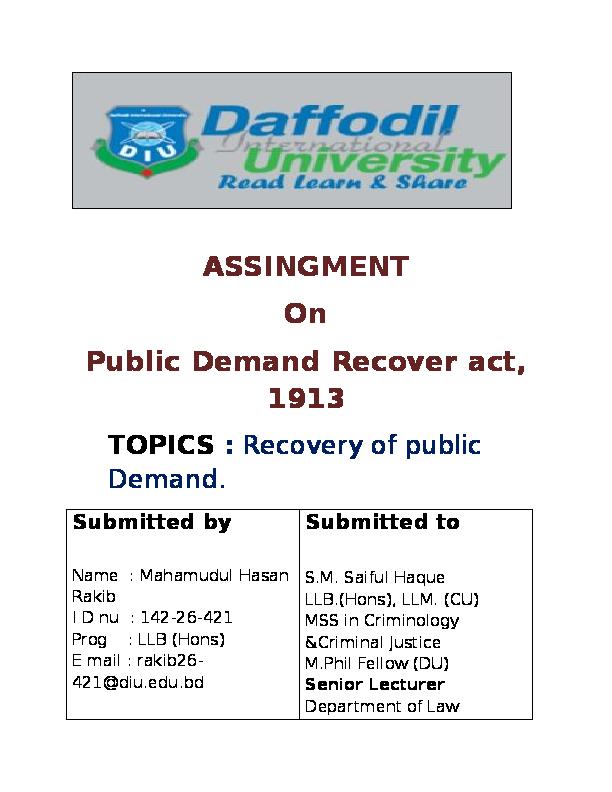 DOC) brief idea on public demand recover Act, 1913