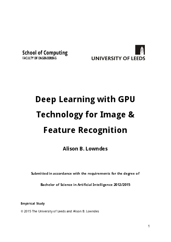PDF) FYP Deep Learning with GPU Technology for Image and Feature