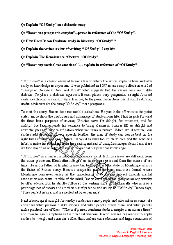 What Is A Thesis Statement In A Essay Doc History Of English Essay also Essay Writing Scholarships For High School Students Theme Of  Of Study   Of Study Is A Didactic Essay Of Bacon  English Literature Essays