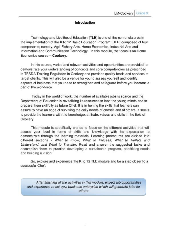 PDF) TLE 9 COokery | margie calderon - Academia edu