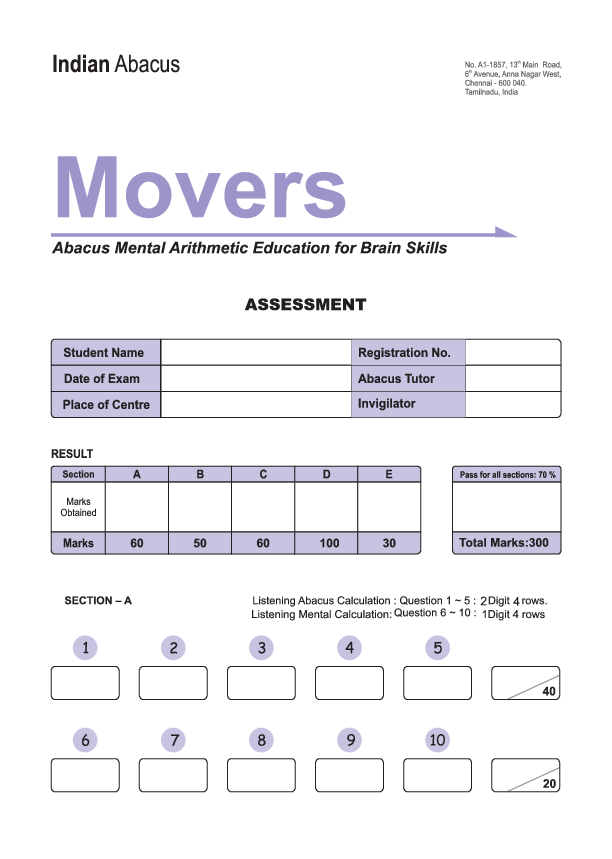 PDF) Indian Abacus 2nd level model question paper Movers | N
