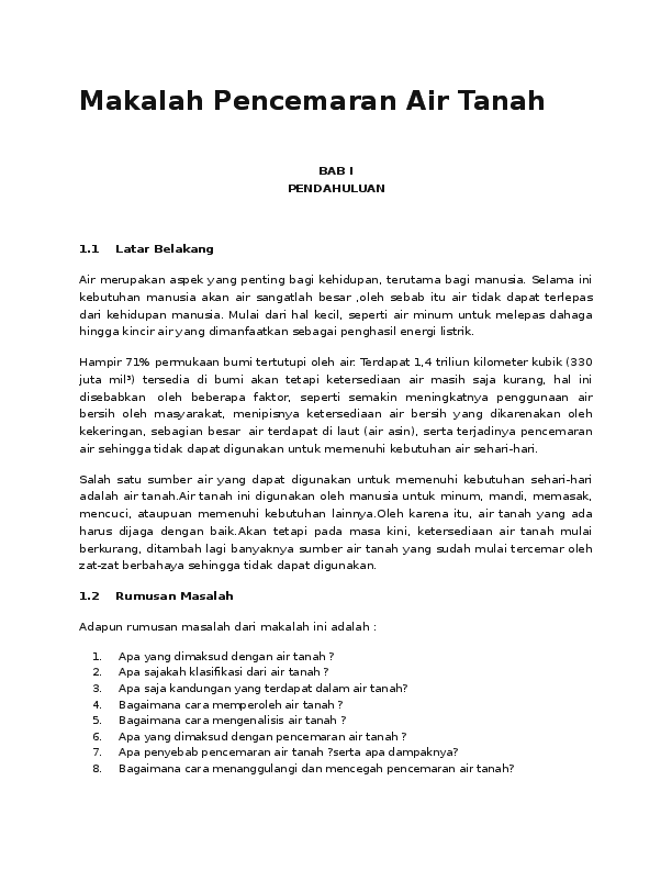 Doc Makalah Pencemaran Air Mahesa Nugraha Academia Edu