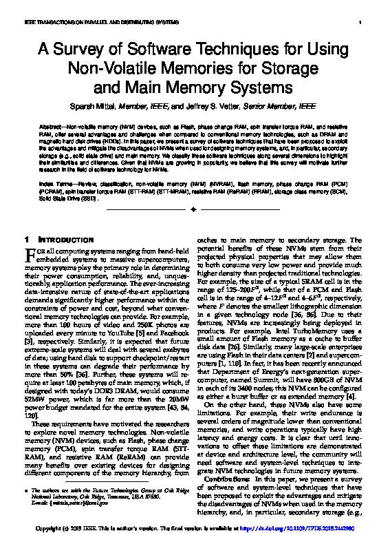PDF) A Survey of Software Techniques for Using Non-Volatile Memories