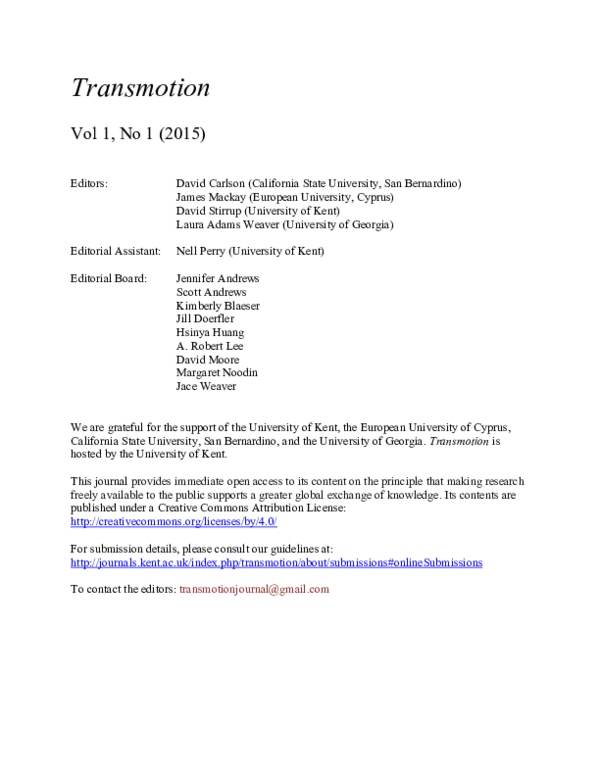 PDF) Editorial - Transmotion   James Mackay - Academia edu