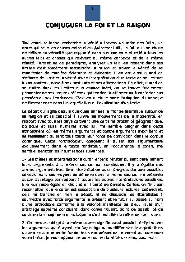 Doc Conjuguer La Foi Et La Raison Ahmed Abdouni Academia Edu
