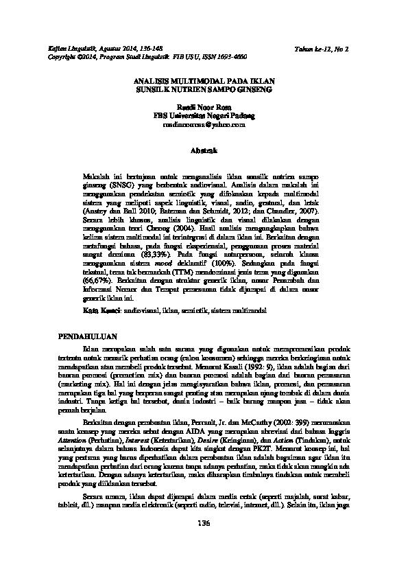Analisis Multimodal Pada Iklan Sunsilk Nutrien Sampo Ginseng