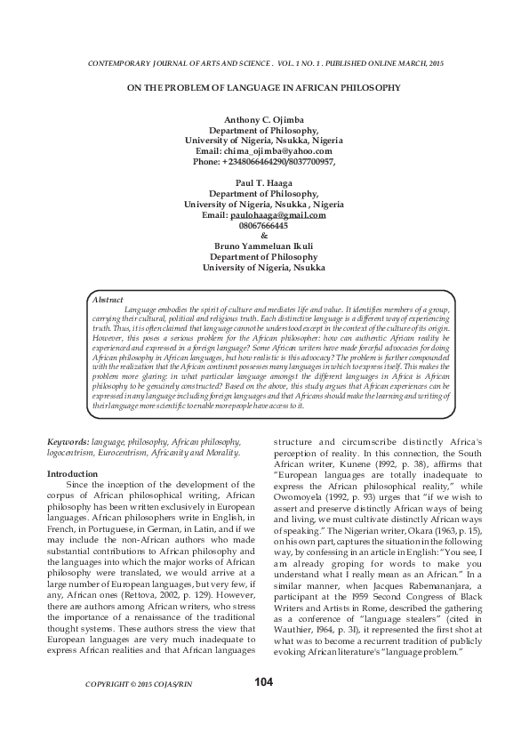 PDF) ON THE PROBLEM OF LANGUAGE IN AFRICAN PHILOSOPHY