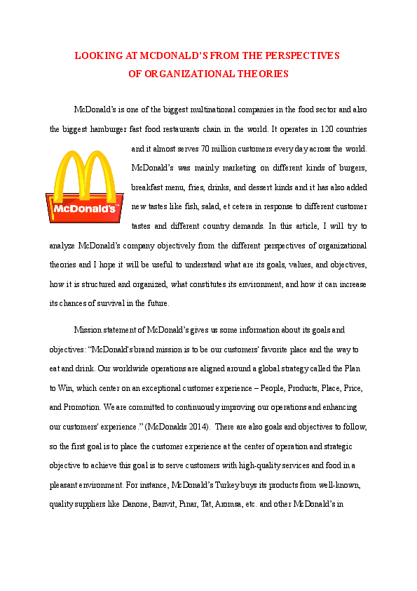 doc  mcdonalds and organizational theories
