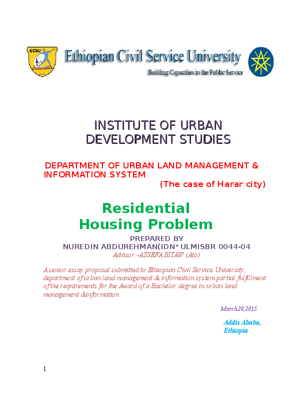 DOC) research proposal for housing problem in Harar city | Nuredin