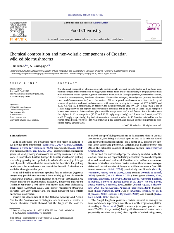 PDF) Chemical composition and non-volatile components of
