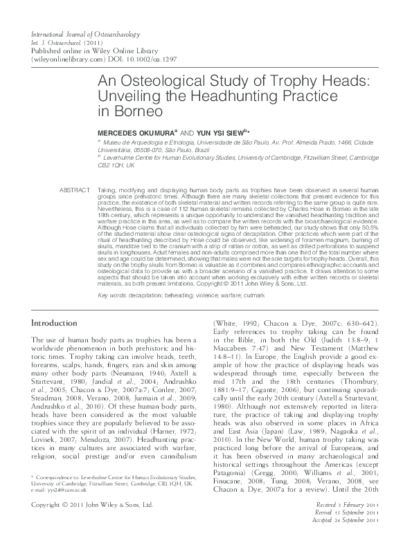 PDF) An Osteological Study of Trophy Heads: Unveiling the ...