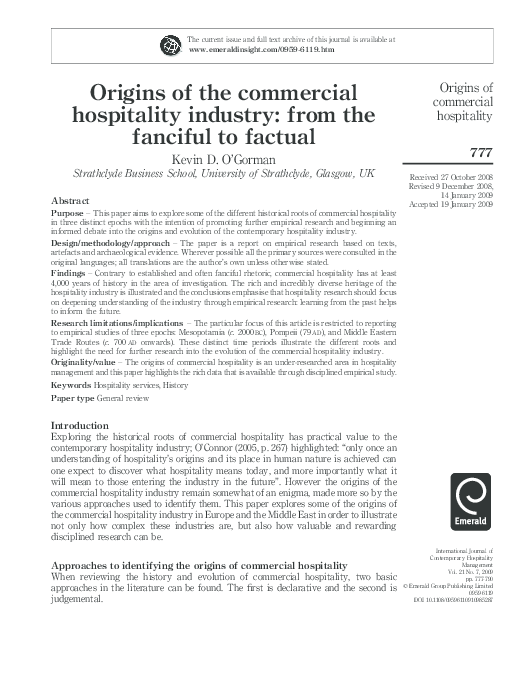 PDF) Origins of the Commercial Hospitality Industry: From