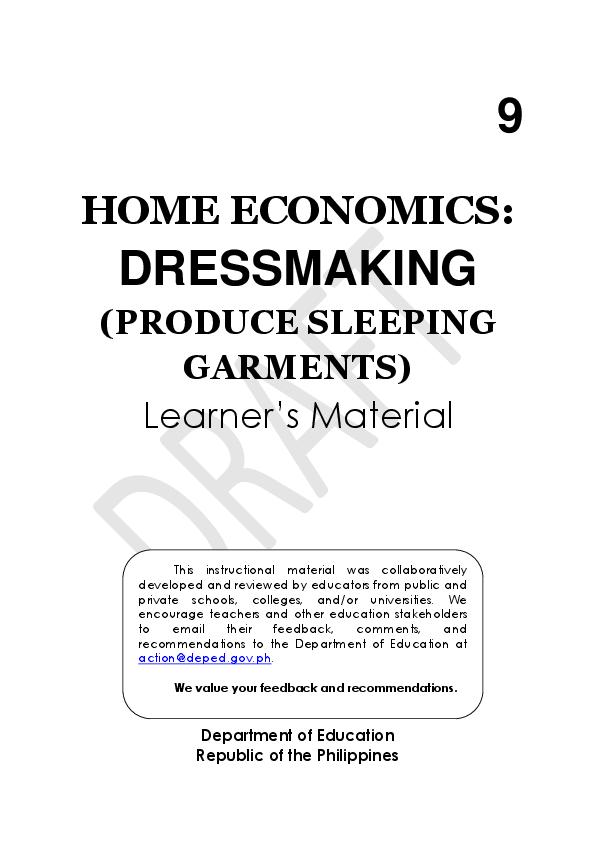 Pdf Dressmaking Learning Module Alejandrina M Moises Academia Edu