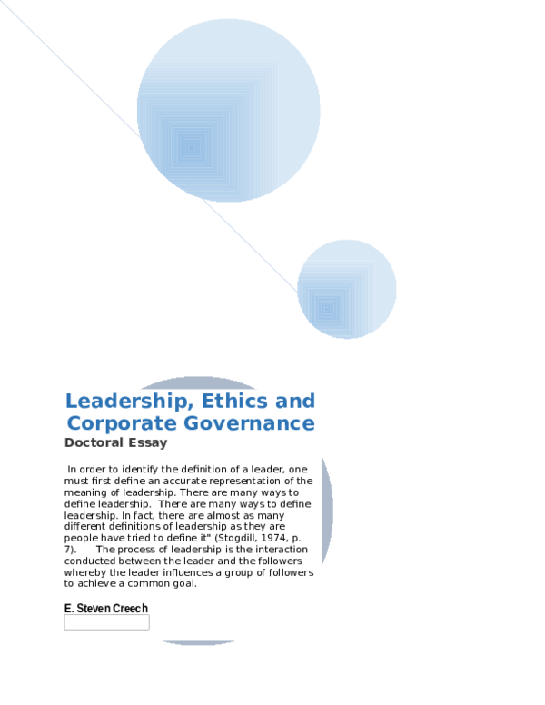 DOC) Leadership, Ethics and Corporate Governance | E  Steven