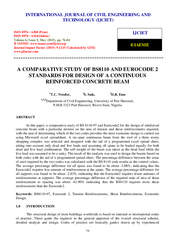 PDF) A COMPARATIVE STUDY OF BS8110 AND EUROCODE 2 STANDARDS FOR