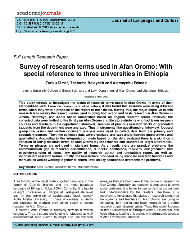PDF) Survey of research terms used in Afan Oromo: With special