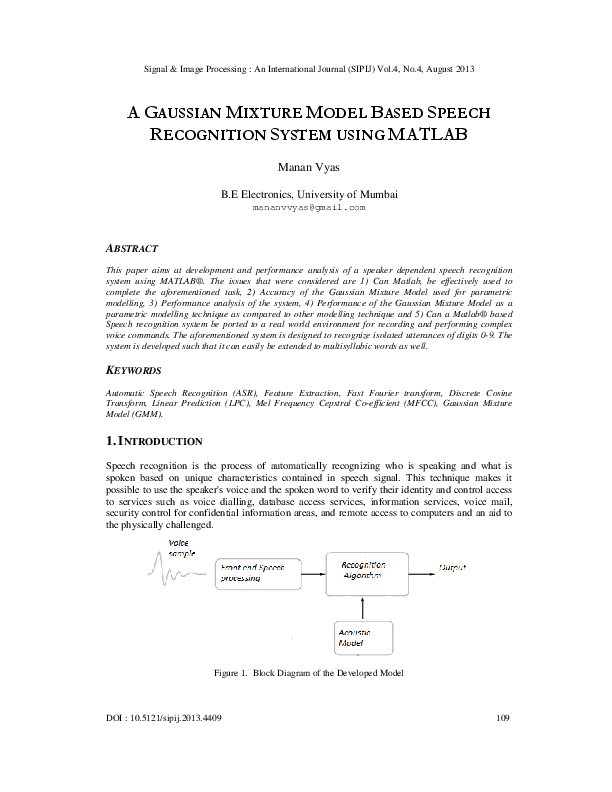 PDF) A GAUSSIAN MIXTURE MODEL BASED SPEECH RECOGNITION