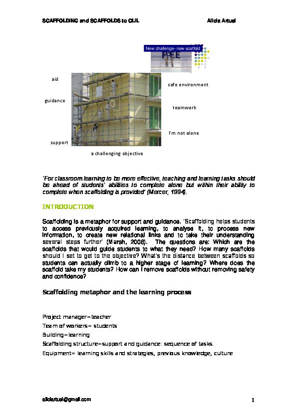 PDF) Scaffolding and scaffolds to CLIL | alicia artusi