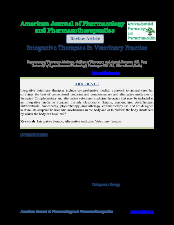 PDF) Integrative Therapies in Veterinary Practice | Gopal