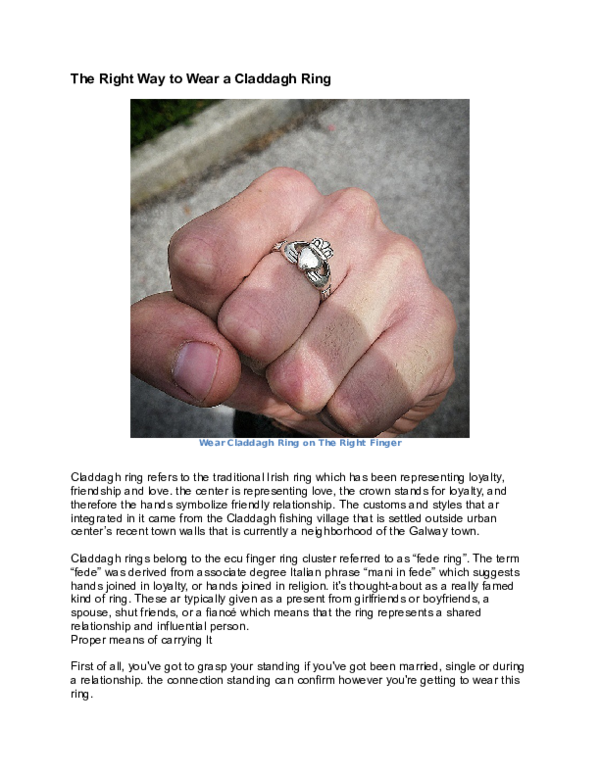 What way to wear a claddagh ring