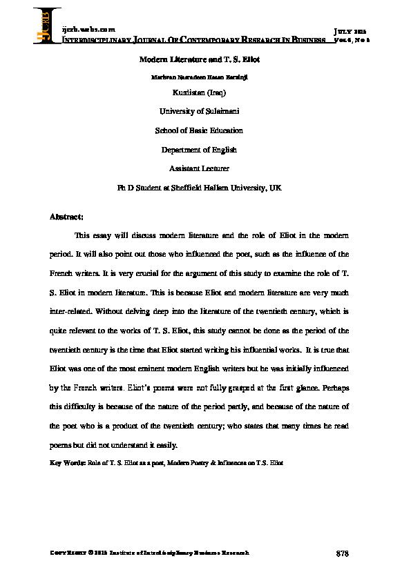 pdf ts eliot and modern literature  mariwan barzinji   academiaedu pdf