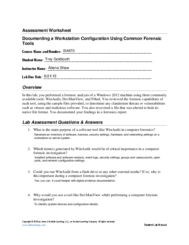 Pdf Assessment Worksheet Documenting A Workstation Configuration Using Common Forensic Tools Lab Assessment Questions Answers Troy Goldtooth Academia Edu