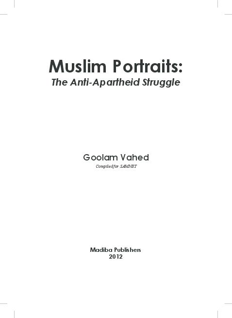 PDF) Muslim Portraits  The Anti-Apartheid Struggle   Goolam Vahed