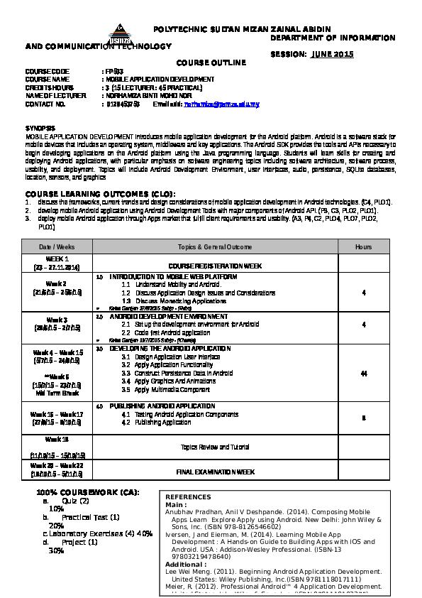 DOC) POLYTECHNIC SULTAN MIZAN ZAINAL ABIDIN DEPARTMENT OF