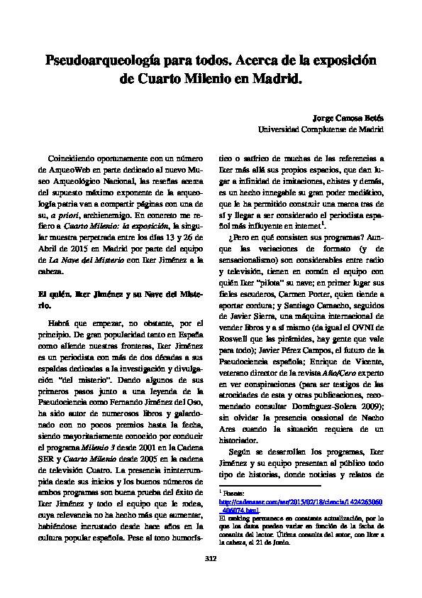 PDF) Pseudoarqueología para todos. Acerca de la exposición ...