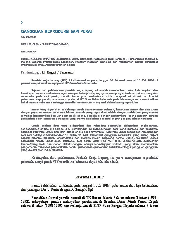 Doc Gangguan Reproduksi Sapi Perah Vikki Ainuzzakki Academia Edu