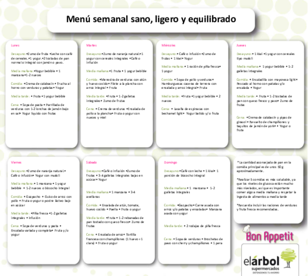 menu diario de comida saludable