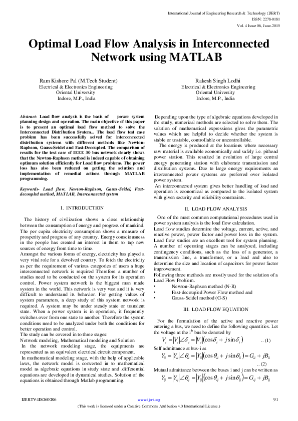 PDF) Optimal Load Flow Analysis in Interconnected Network