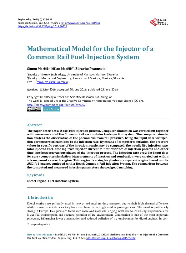 PDF) Mathematical Model for the Injector of a Common Rail