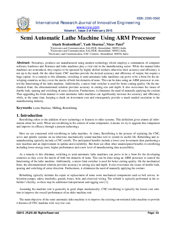 Excellent Pdf Semi Automatic Lathe Machine Using Arm Processor Irjie Wiring Cloud Oideiuggs Outletorg