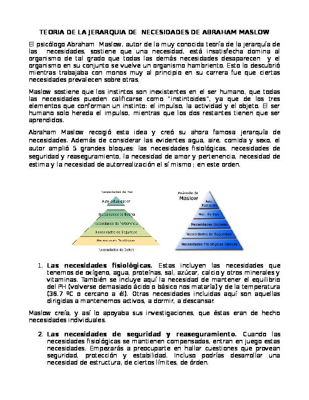 Doc Teoria De La Jerarquia De Necesidades De Abraham Maslow