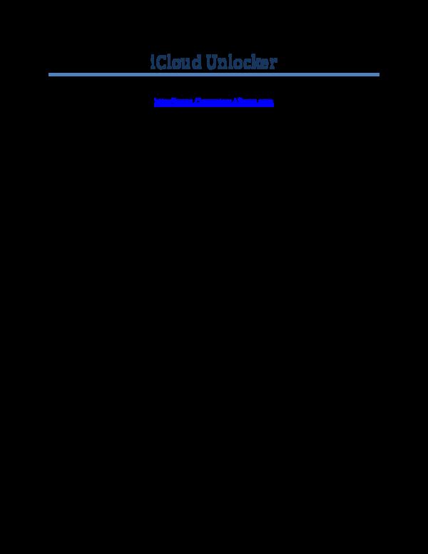 PDF) iCloud Unlocker | Arash A  - Academia edu