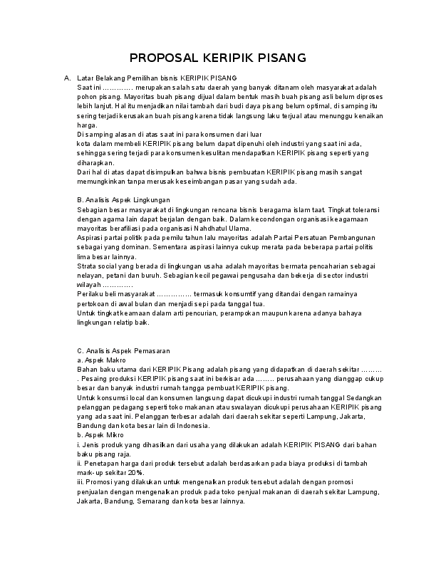 Doc Proposal Keripik Pisang Monica Wijaya Academia Edu