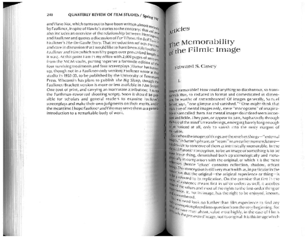 PDF) The Memorability of the Filmic Image | Edward Casey