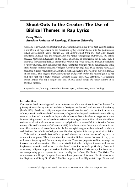 PDF) Shout-Outs to the Creator: The Use of Biblical Themes in Rap