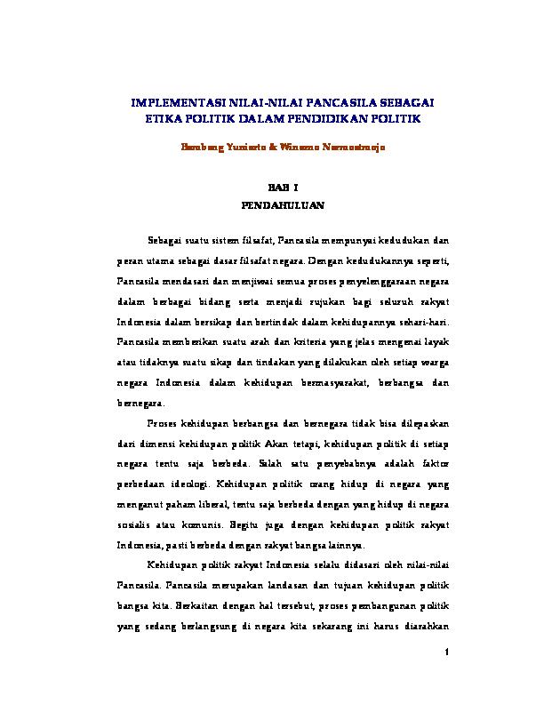 Contoh Kasus Pancasila Sebagai Etika Politik Barisan Contoh