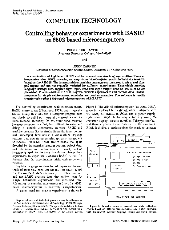 PDF) Controlling Behavior Experiments with BASIC on 6502-based